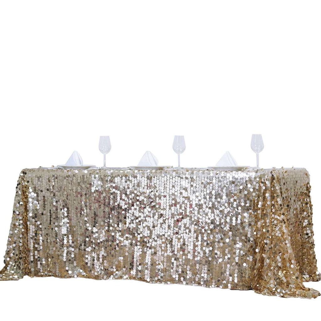 "90X156"" Wholesale Champagne Premium Big Payette Sequin Rectangle Tablecloth For Wedding Banquet Party"