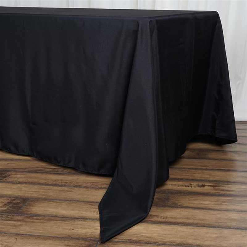 "72""x120"" Black Wholesale Polyester Rectangular Oblong Banquet Linen Tablecloth"
