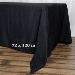 "72x120"" Seamless Premium BLACK Wholesale Polyester Tablecloth For Wedding Banquet Restaurant"