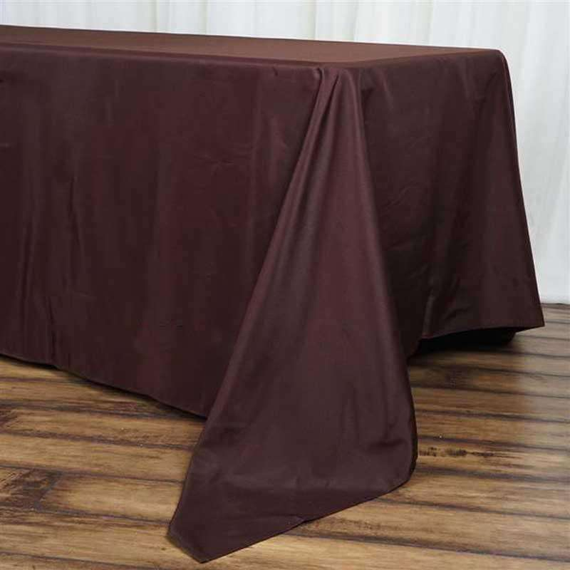 "72""x120"" Chocolate Wholesale Polyester Rectangular Linen Tablecloth"
