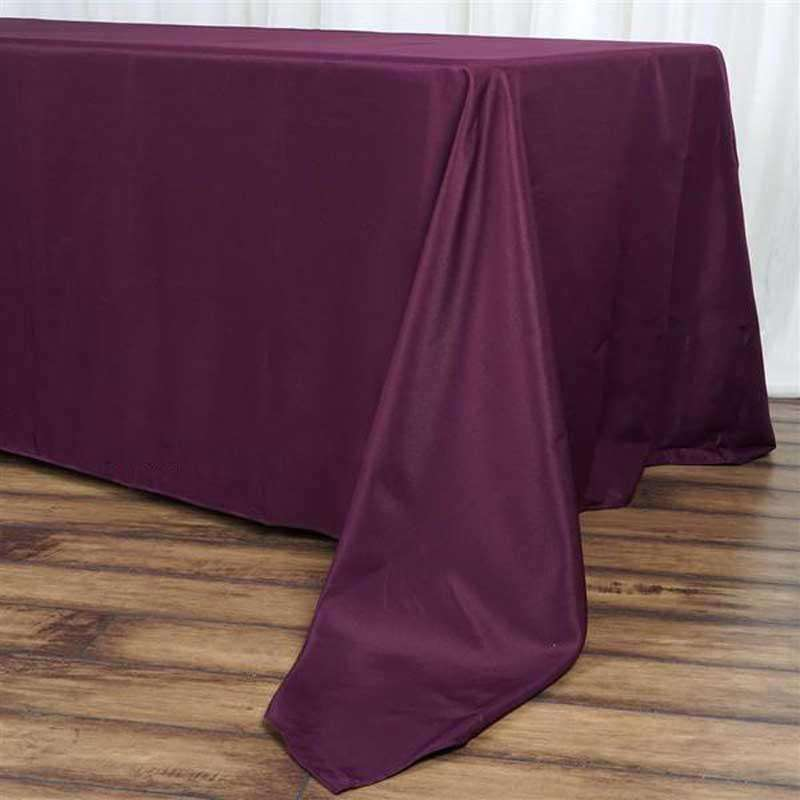 "72""x120"" Eggplant Wholesale Polyester Rectangular Linen Tablecloth"