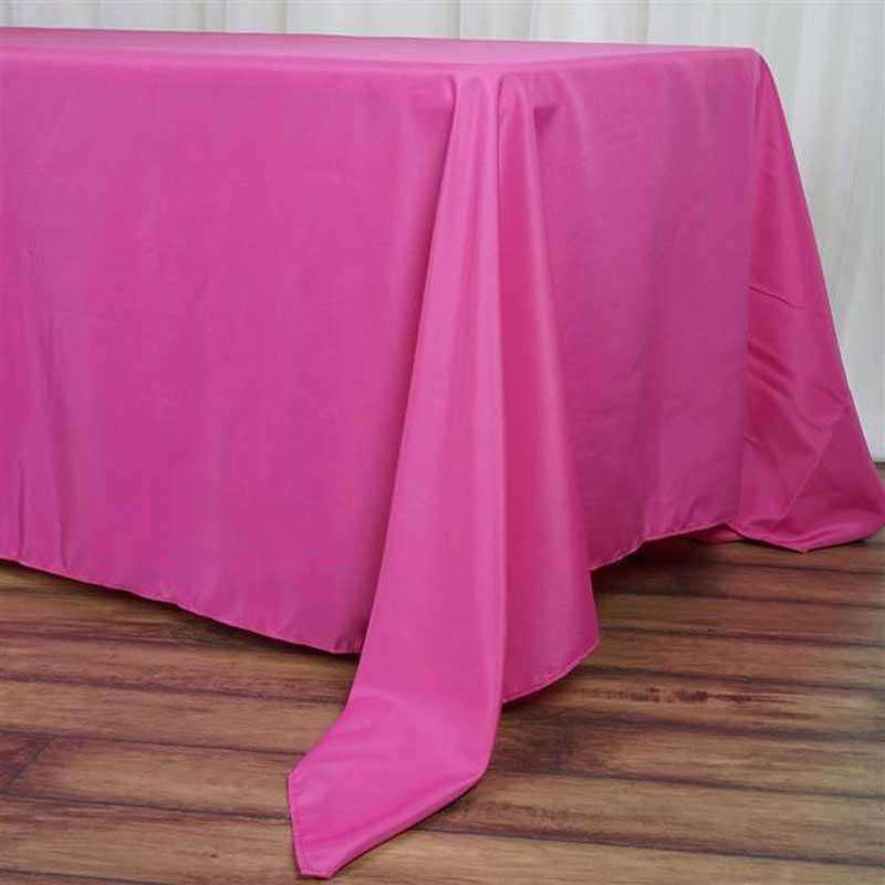 "72""x120"" Fushia Wholesale Polyester Rectangular Linen Tablecloth"