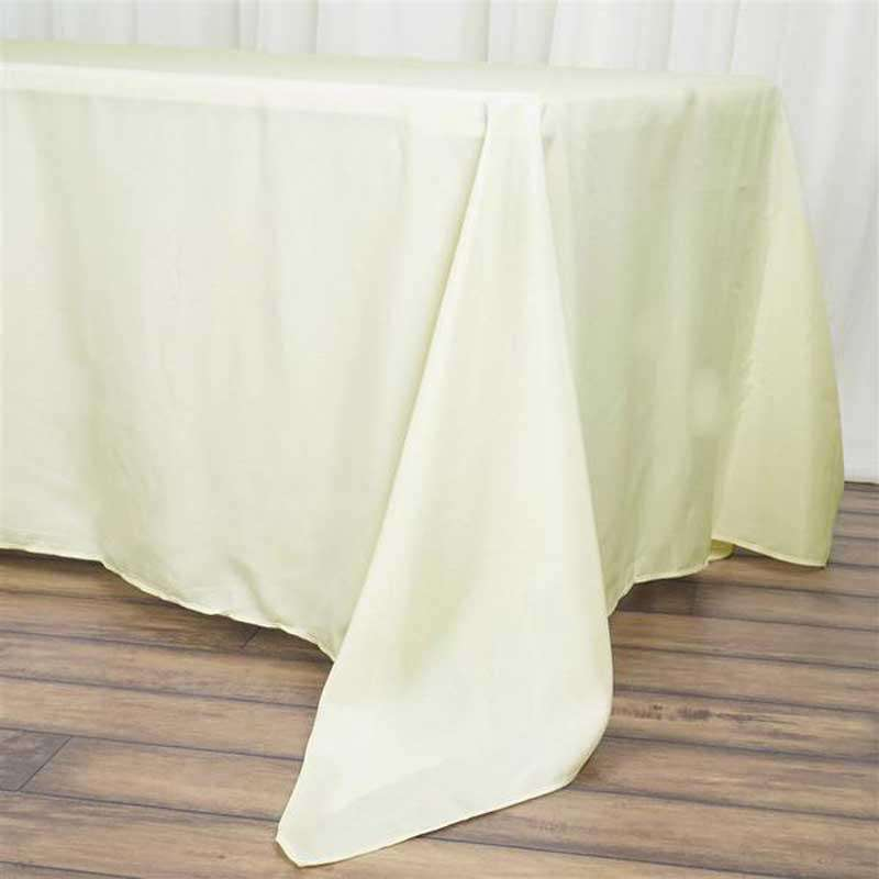 "72""x120"" Ivory Wholesale Polyester Rectangular Oblong Banquet Linen Tablecloth"