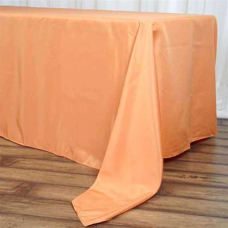"72""x120"" Orange Wholesale Polyester Rectangular Linen Tablecloth"