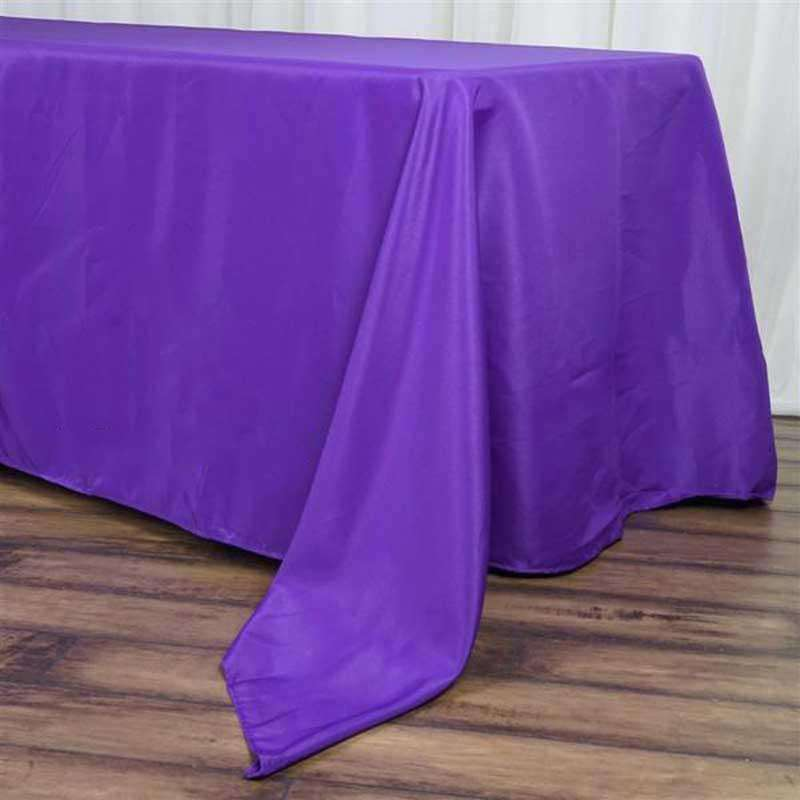 "72""x120"" Purple Wholesale Polyester Rectangular Linen Tablecloth"