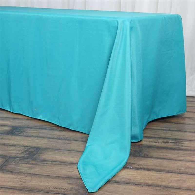 "72""x120"" Turquoise Wholesale Polyester Rectangular Linen Tablecloth"