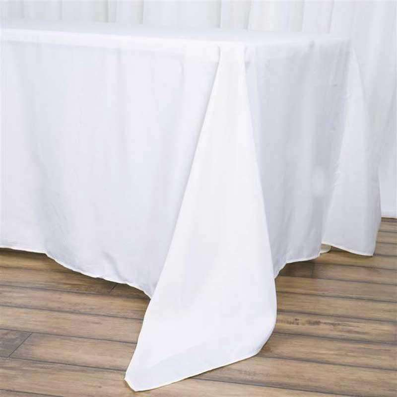 "72""x120"" White Wholesale Polyester Rectangular Oblong Banquet Linen Tablecloth"