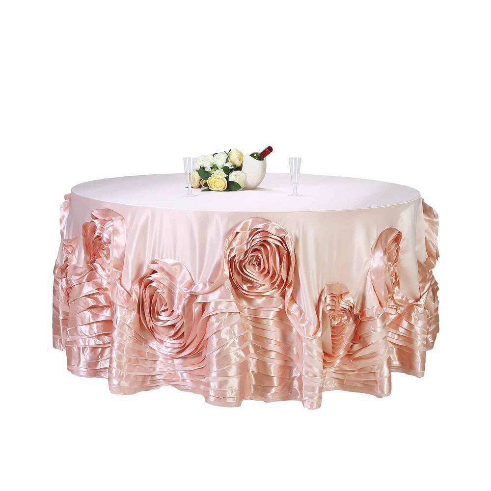 "132"" Blush Large Rosette Round Lamour Satin Tablecloth For Wedding Party Decoration"