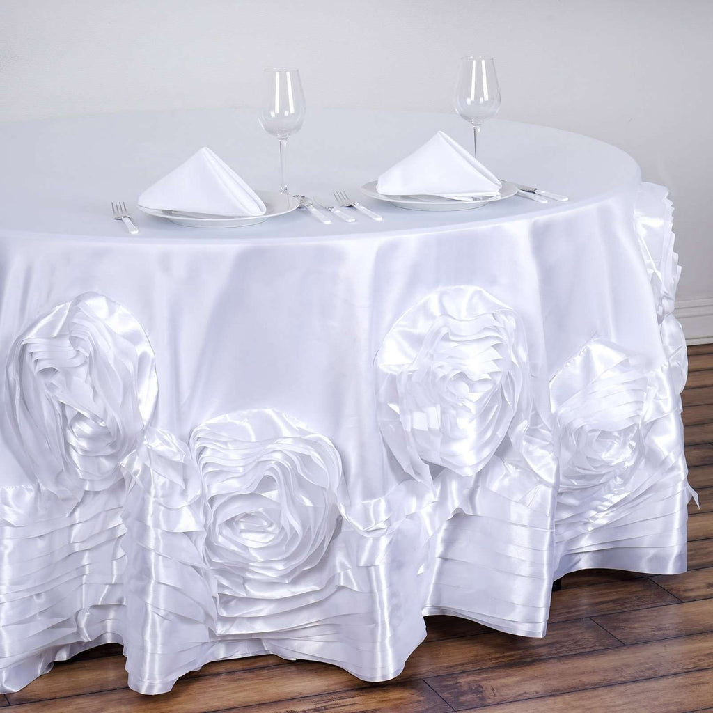 "120"" White Large Rosette Round Lamour Satin Tablecloth For Wedding Party Decoration"