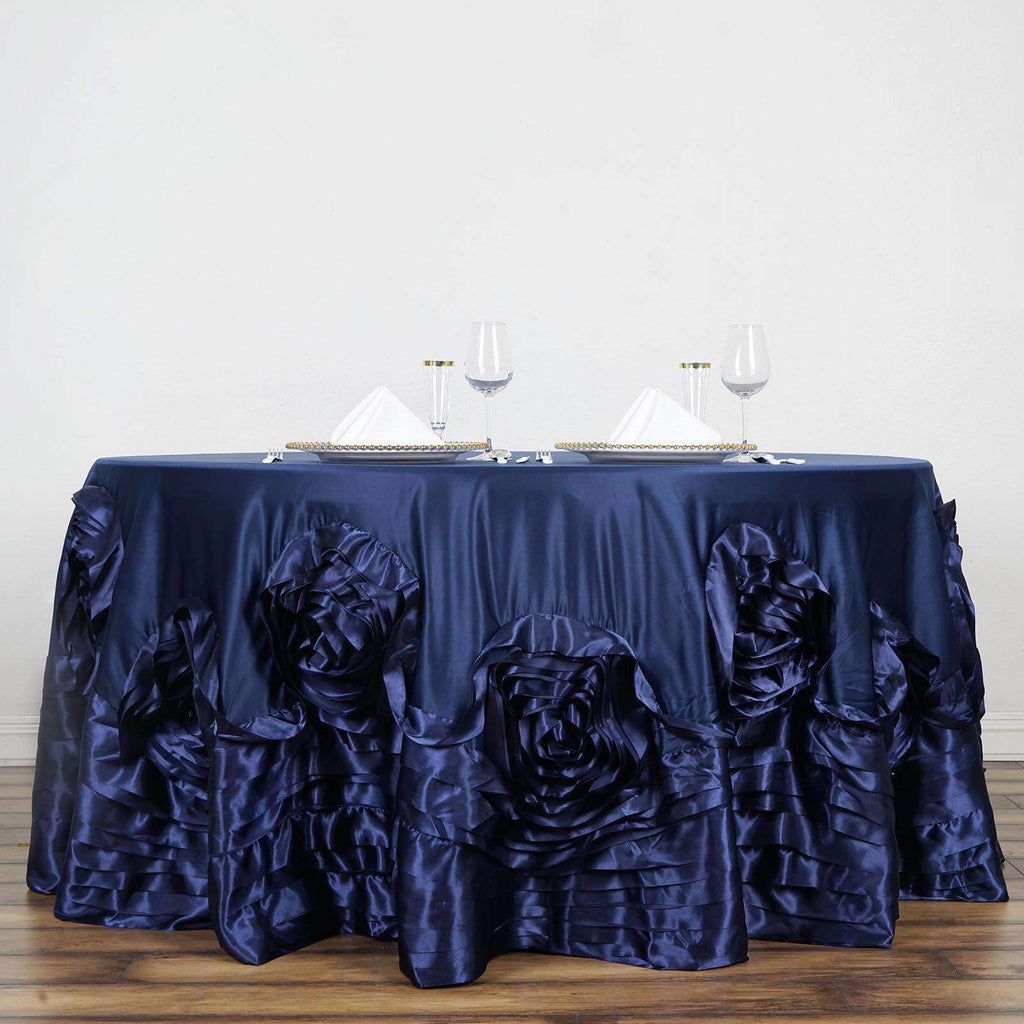 "132"" Navy Blue Large Rosette Round Lamour Satin Tablecloth"