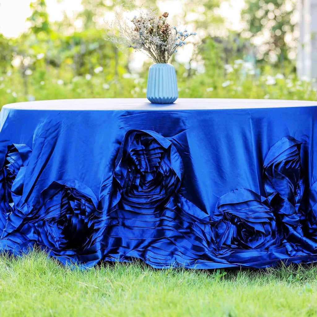 "132"" Royal Large Rosette Round Lamour Satin Tablecloth For Wedding Party Decoration"