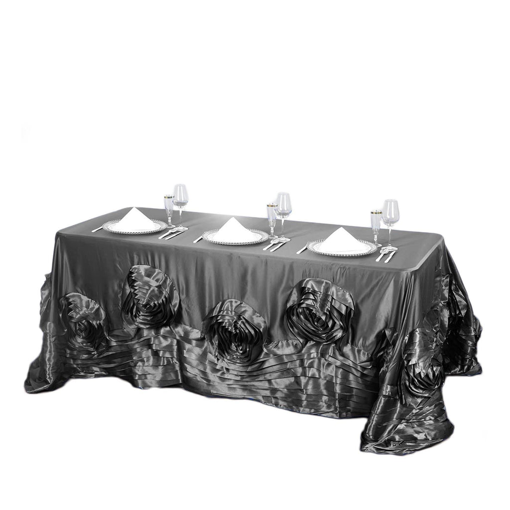 "90""x156"" Charcoal Gray Large Rosette Rectangular Lamour Satin Tablecloth"
