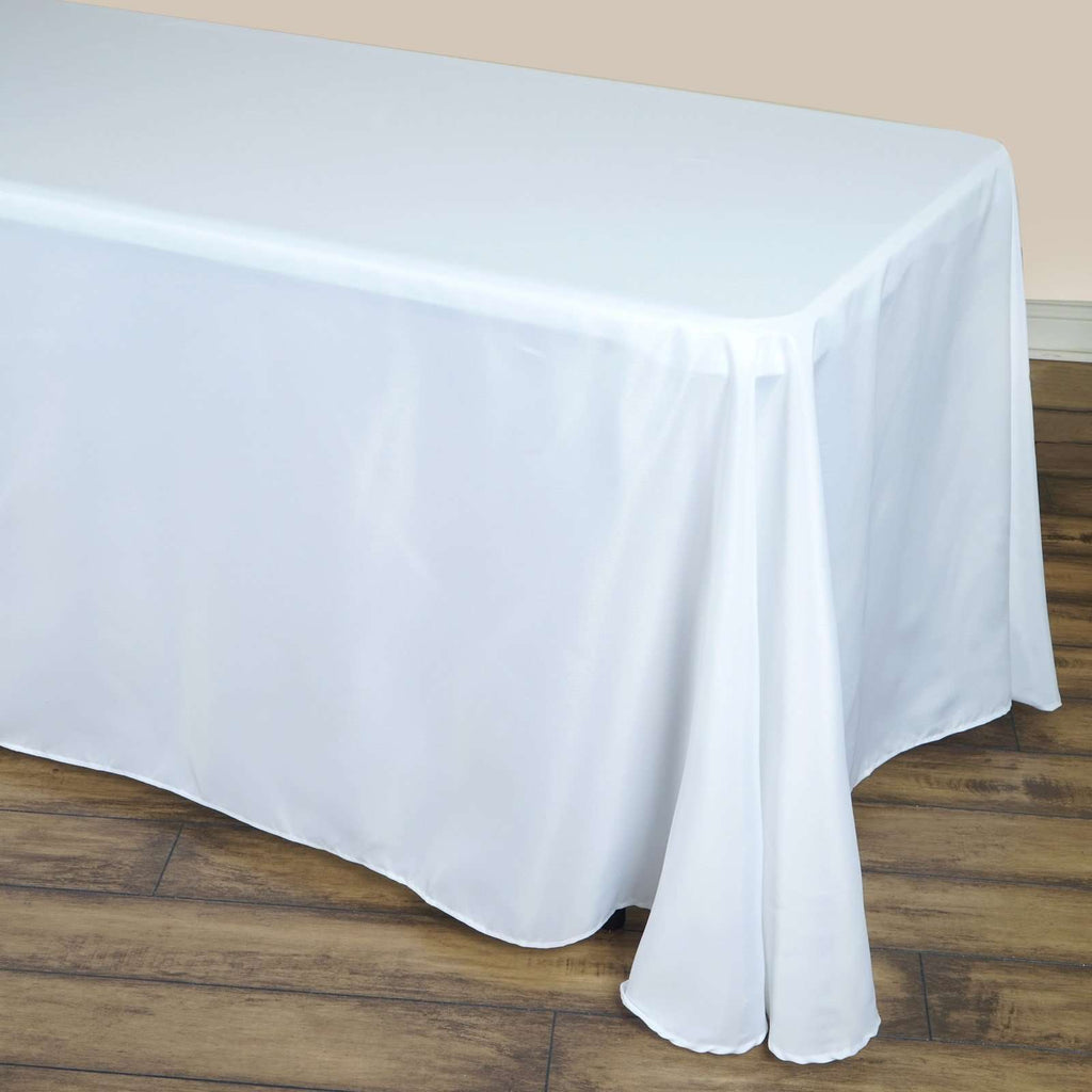 "90x132"" WHITE Wholesale Polyester Round Corner Banquet Linen Wedding Party Restaurant Tablecloth"