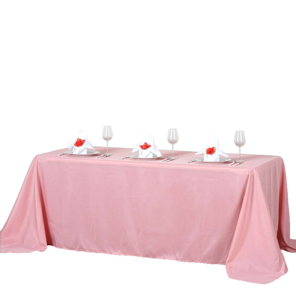 "90""x132"" Rose Quartz Wholesale Polyester Rectangular Linen Tablecloth"