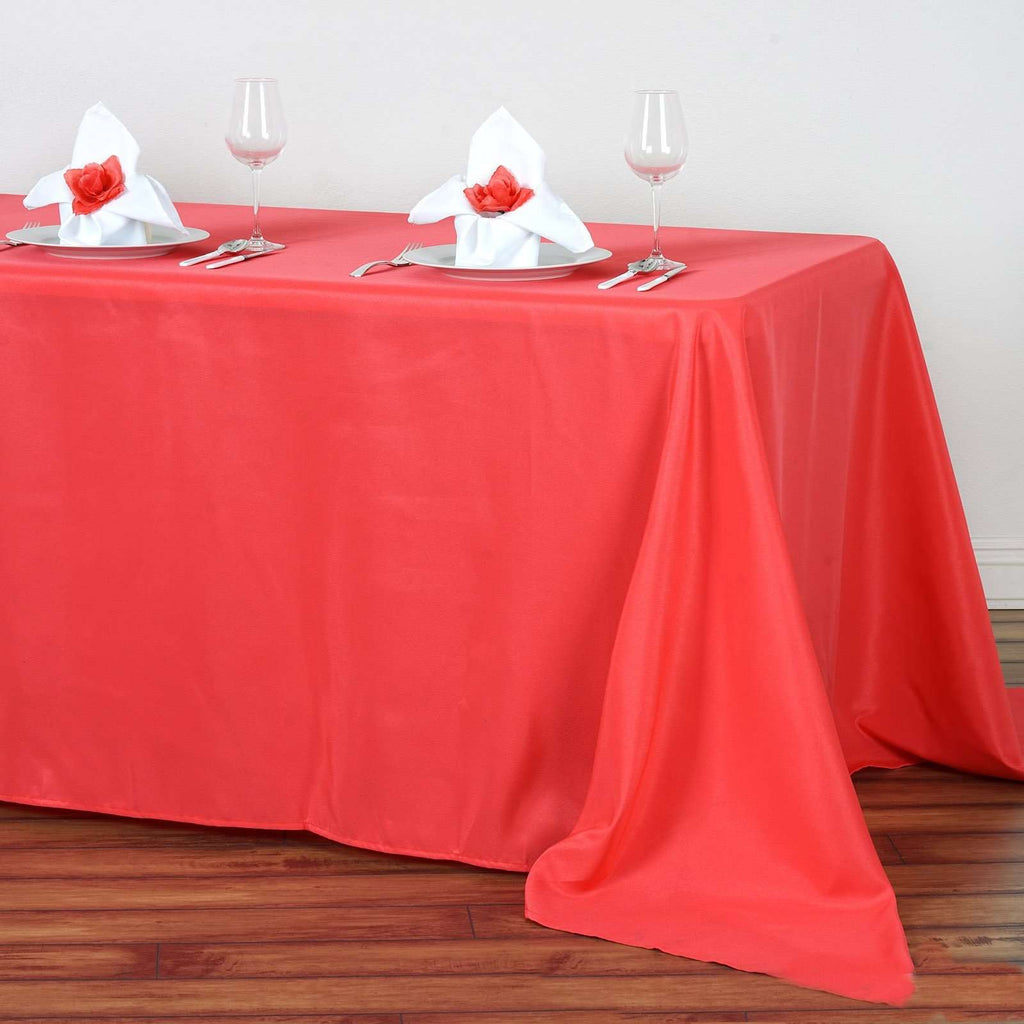 "90""x132"" Coral Wholesale Polyester Rectangular Linen Tablecloth"