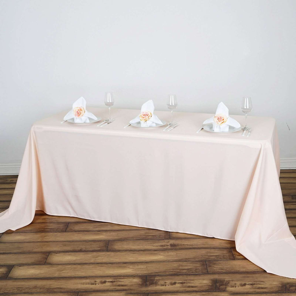 "90""x132"" Blush Wholesale Polyester Rectangular Linen Tablecloth"