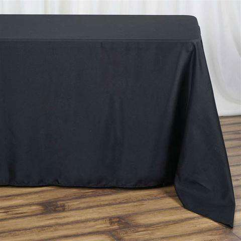 "90x132"" Black Wholesale Polyester Rectangular Oblong Banquet Linen Tablecloth"