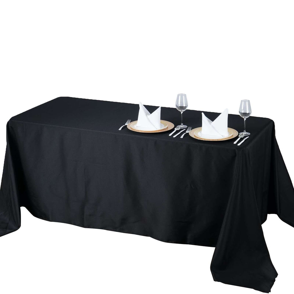 "90x132"" Seamless Premium Black Wholesale Polyester Rectangular Banquet Linen Tablecloth"