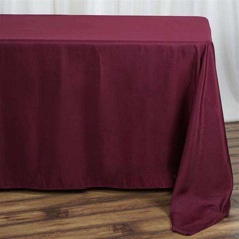 "90""x132"" Burgundy Wholesale Polyester Rectangular Linen Tablecloth"
