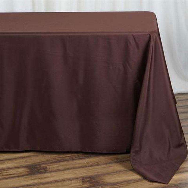 "90""x132"" Chocolate Wholesale Polyester Rectangular Linen Tablecloth"