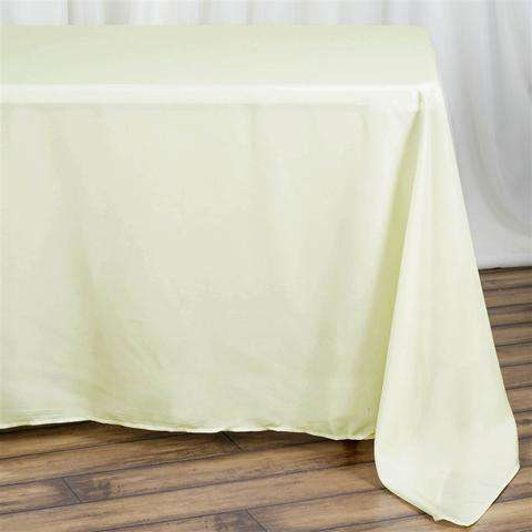"90x132"" Ivory Wholesale Polyester Rectangular Oblong Banquet Linen Tablecloth"