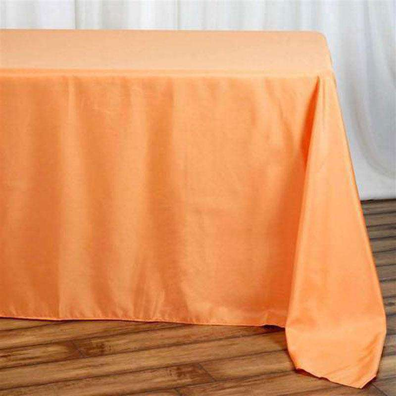 "90""x132"" Orange Wholesale Polyester Rectangular Linen Tablecloth"
