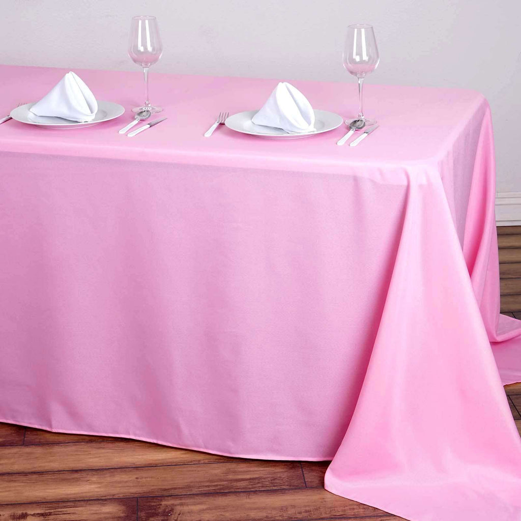 "90""x132"" Pink Wholesale Polyester Rectangular Linen Tablecloth"