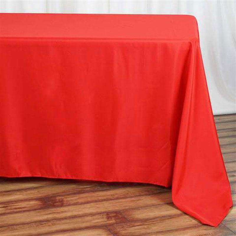 "90""x132"" Red Wholesale Polyester Rectangular Linen Tablecloth"
