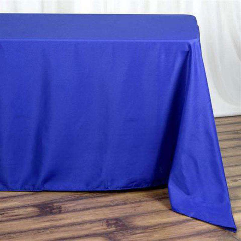 "90""x132"" Royal Blue Wholesale Polyester Rectangular Linen Tablecloth"