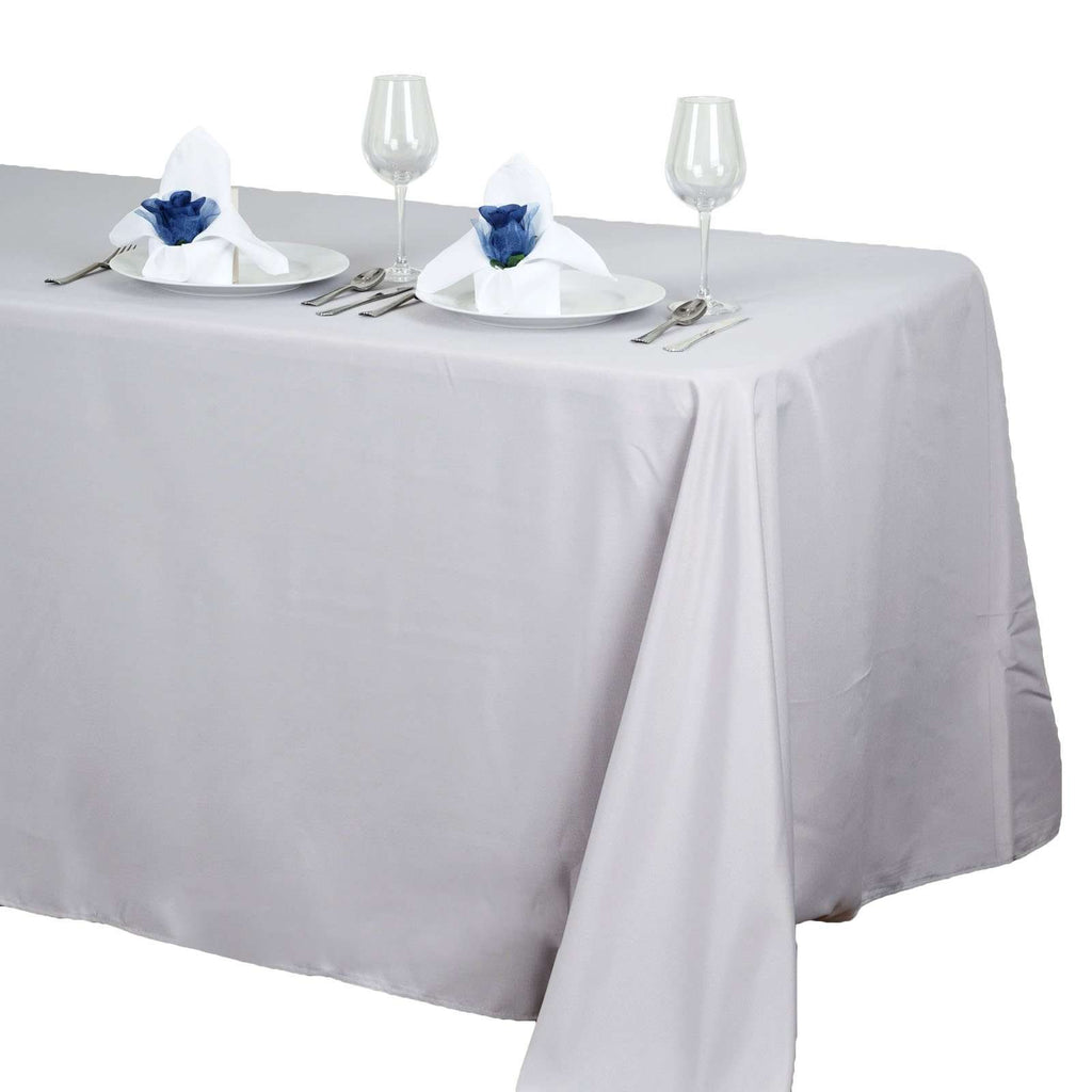 "90""x132"" Silver Wholesale Polyester Rectangular Linen Tablecloth"
