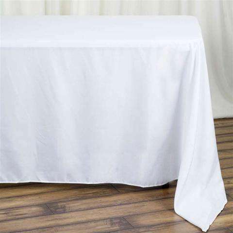 "90x132"" White Wholesale Polyester Rectangular Oblong Banquet Linen Tablecloth"