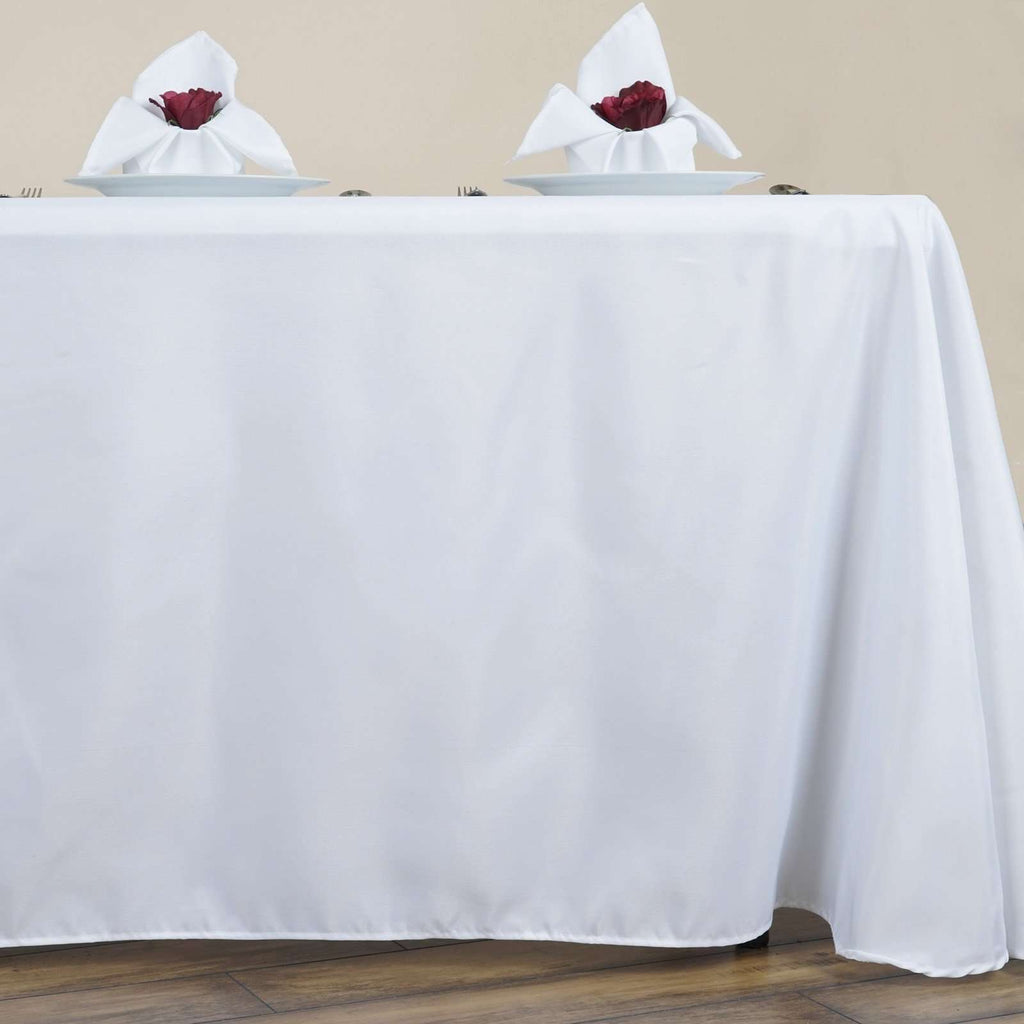 "90x156"" WHITE Wholesale Polyester Round Corner Linen Wedding Party Restaurant Tablecloth"