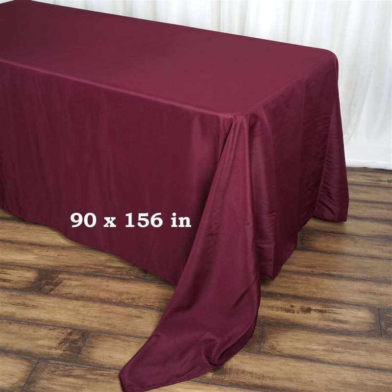 "90x156"" BURGUNDY Wholesale Polyester Banquet Linen Wedding Party Restaurant Tablecloth"