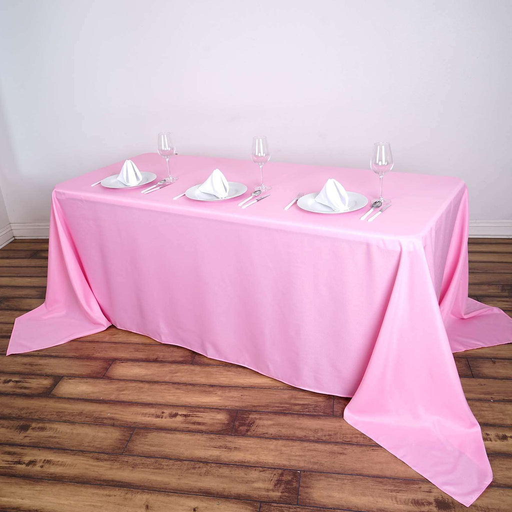 "90x156"" Pink Wholesale Polyester Rectangular Linen Tablecloth"