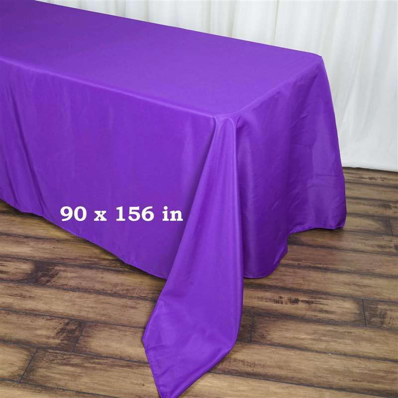 "90x156"" PURPLE Wholesale Polyester Banquet Linen Wedding Party Restaurant Tablecloth"