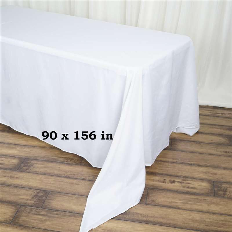 "90x156"" WHITE Wholesale Polyester Banquet Linen Wedding Party Restaurant Tablecloth"
