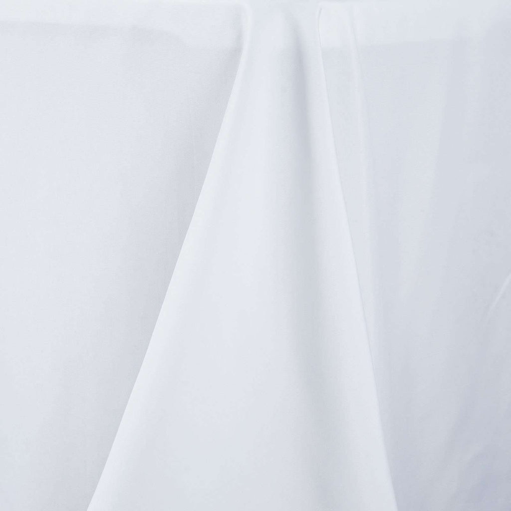 "90x156"" Seamless Premium White Wholesale Polyester Rectangular Banquet Linen Tablecloth"