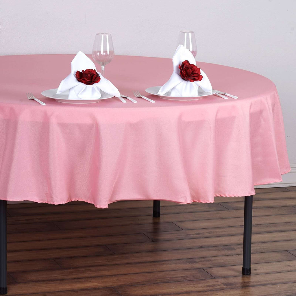 "90"" Rose Quartz Wholesale Polyester Round Tablecloth For Wedding Banquet Restaurant"