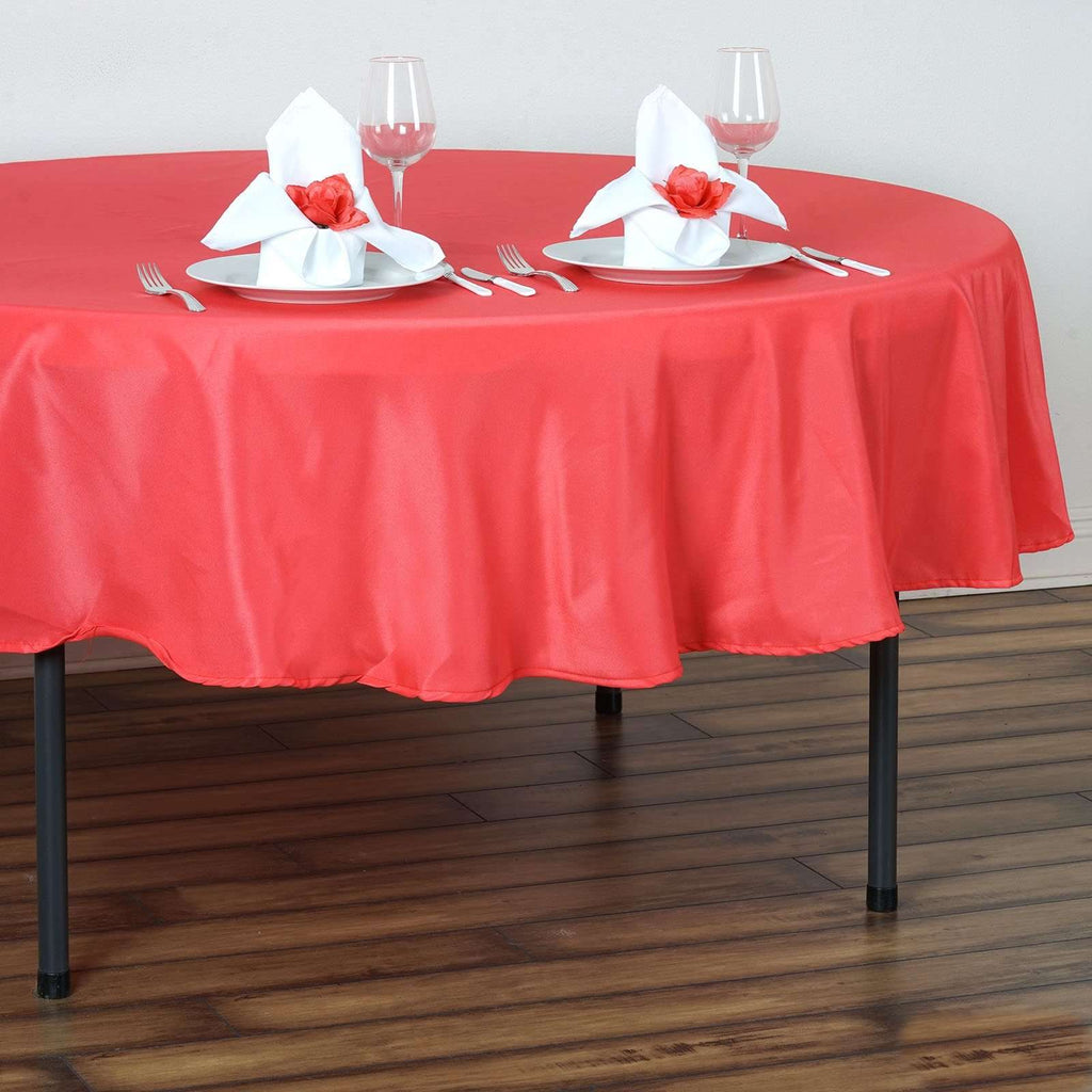 "90"" CORAL Wholesale Polyester Round Tablecloth For Wedding Banquet Restaurant"