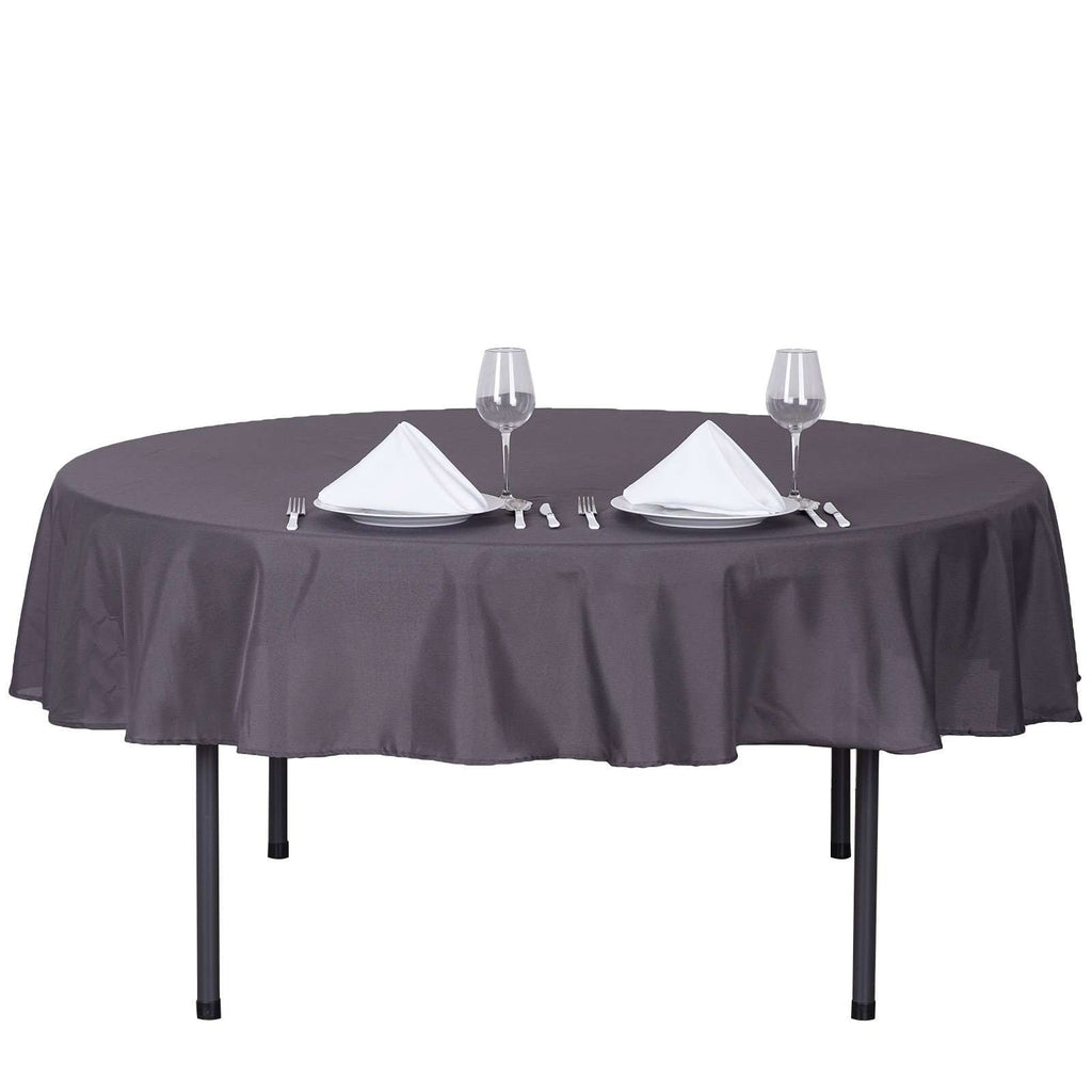 "90"" CHARCOAL GRAY Wholesale Polyester Round Tablecloth For Wedding Banquet Restaurant"