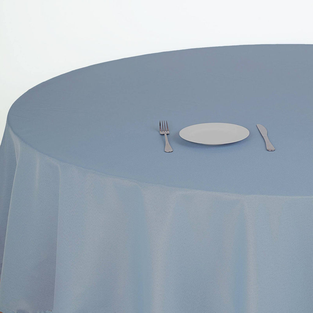 "90"" Dusty Blue Polyester Round Tablecloth"