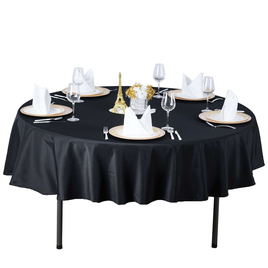 "90"" Seamless Premium BLACK Wholesale Polyester Round Tablecloth For Wedding Banquet Restaurant"