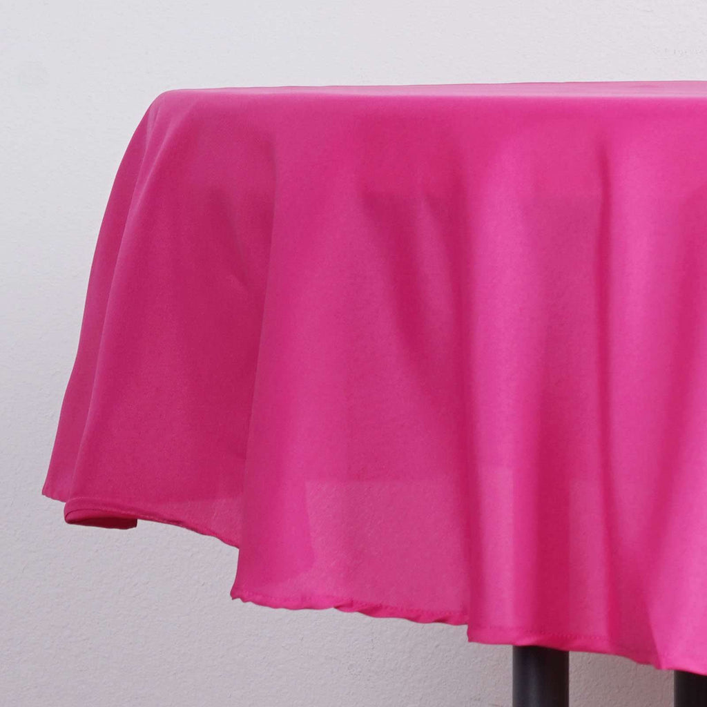 "90"" FUCHSIA Wholesale Polyester Round Tablecloth For Wedding Banquet Restaurant"