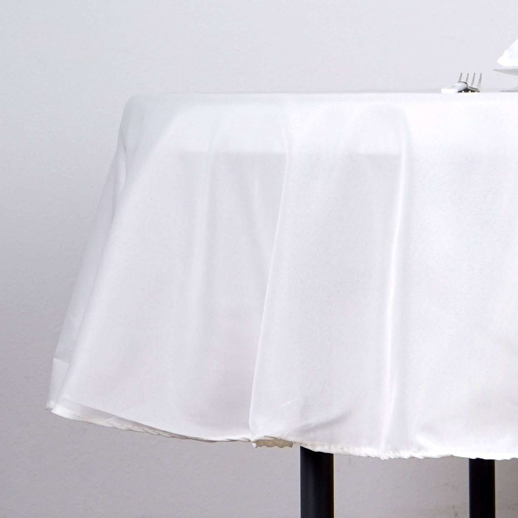 "90"" IVORY Wholesale Polyester Round Tablecloth For Wedding Banquet Restaurant"