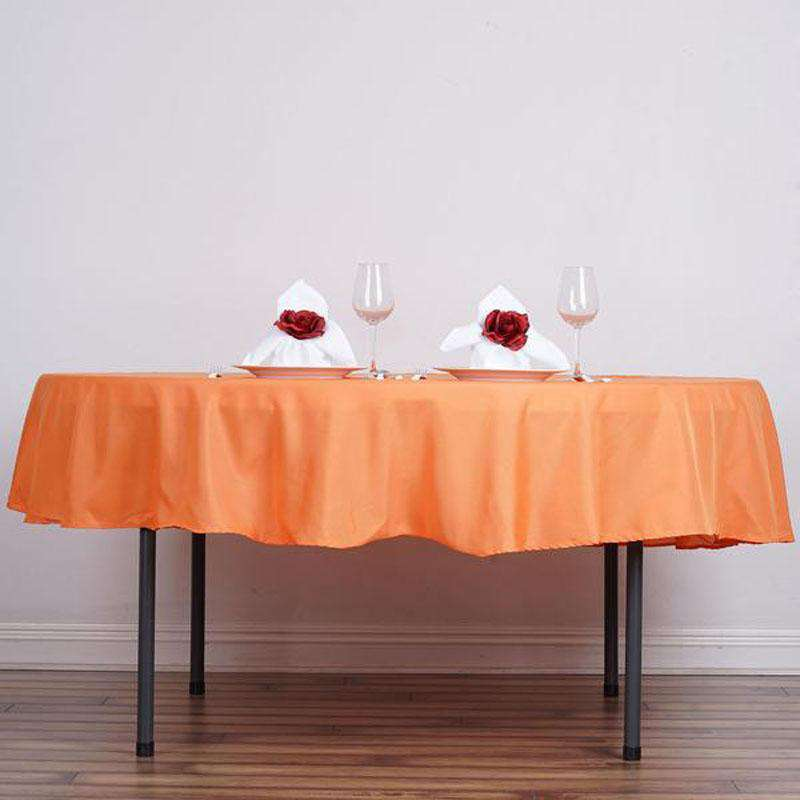 "90"" ORANGE Wholesale Polyester Round Tablecloth For Wedding Banquet Restaurant"