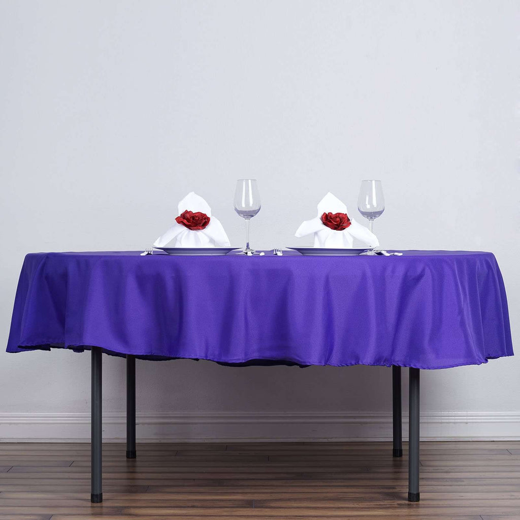 "90"" PURPLE Wholesale Polyester Round Tablecloth For Wedding Banquet Restaurant"