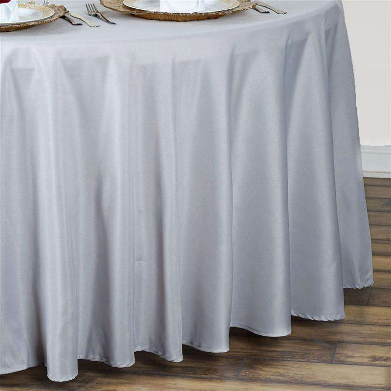"90"" SILVER Wholesale Polyester Round Tablecloth For Wedding Banquet Restaurant"