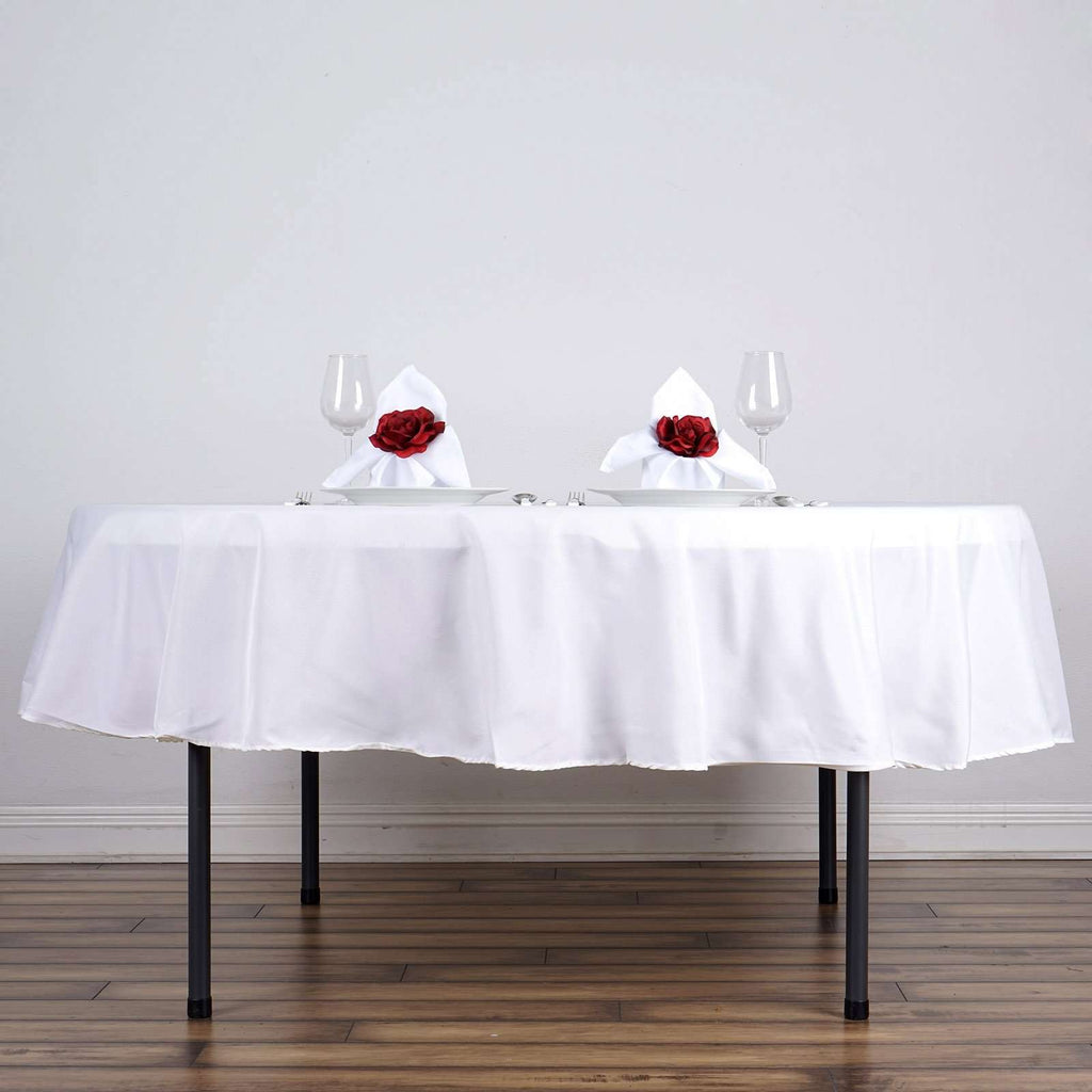"90"" WHITE Wholesale Polyester Round Tablecloth For Wedding Banquet Restaurant"