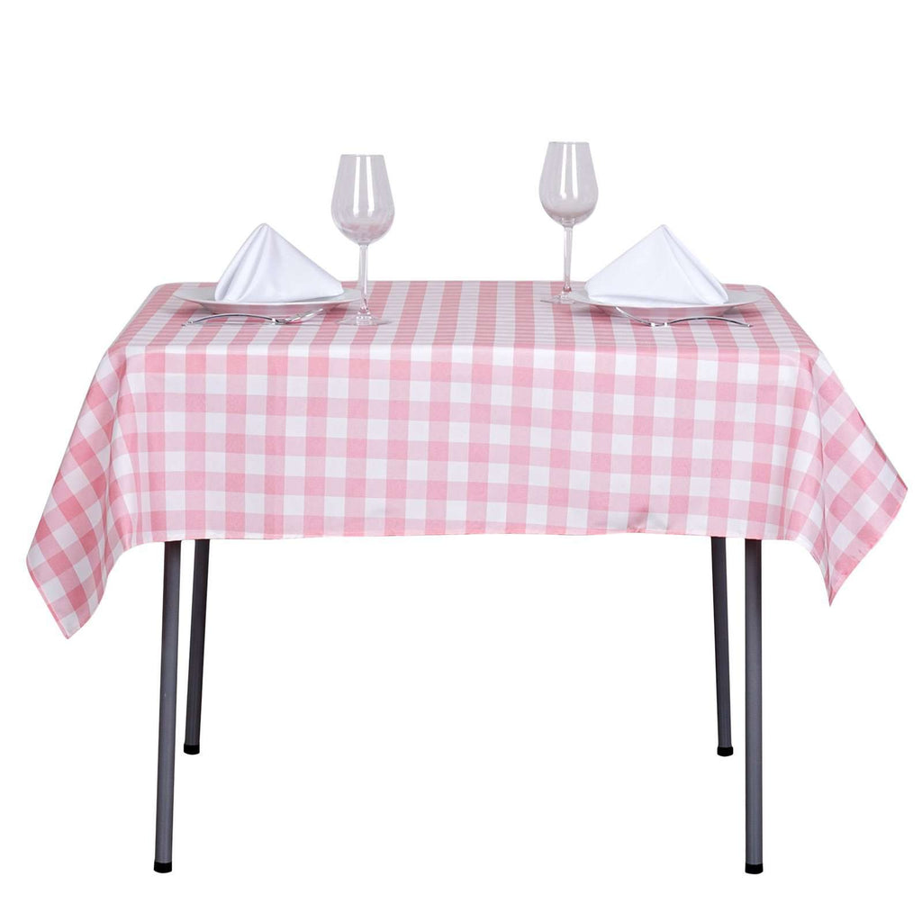 "54""x54"" Checkered Polyester Gingham Picnic Square Linen Tablecloth Overlay For Banquet Restaurant - White/Rose Quartz"
