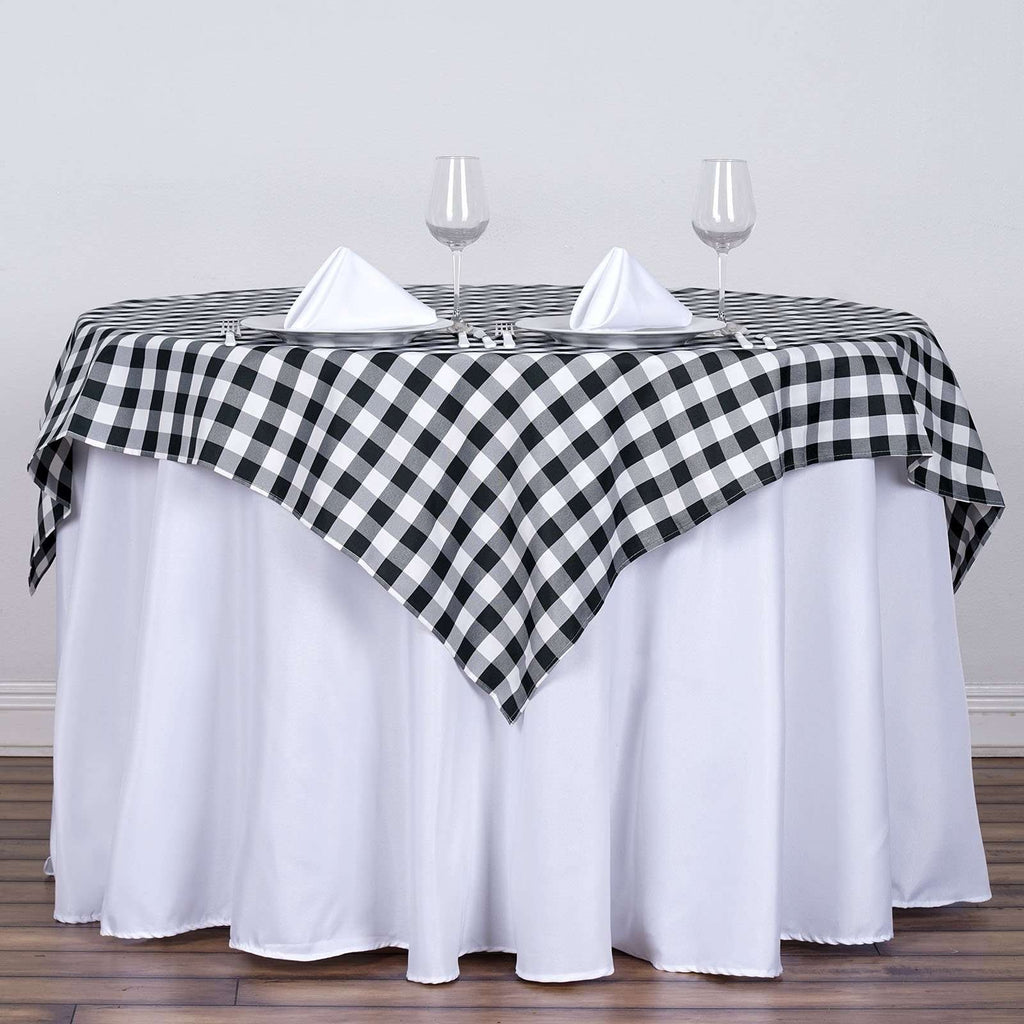 "54""x54"" Checkered Polyester Gingham Picnic Square Linen Tablecloth Overlay For Banquet Restaurant - White/Black"